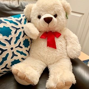 Big Huggable Bear With Red Bow - About 30""